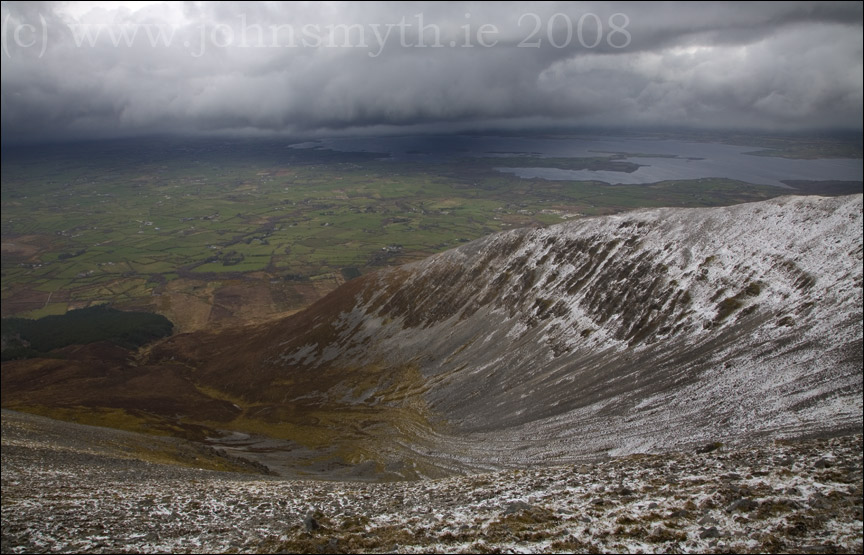 Snow coulds approaching Nephin Beg