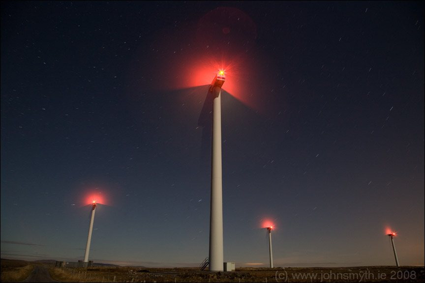 Wind turbines in Galway at night